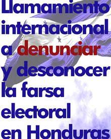 Llamamiento internacional a denunciar y desconocer la farsa electoral en Honduras