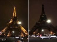 La torre Eiffel antes y durante el apagón. 20,000 focos dejaron de alumbrar. Miles de franceses se sumaron a la iniciativa.