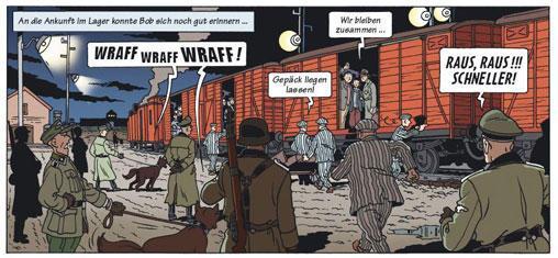 La rampa de Auschwitz en el cómic de Heuvel.